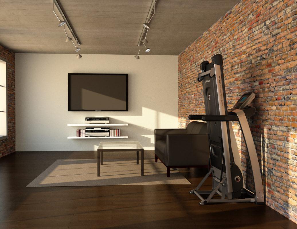 phòng gym tại nhà dùng tường gạch trần ấn tượng