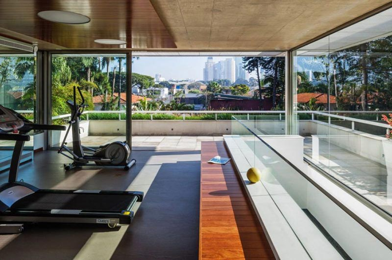 phòng tập thể hình yoga đẹp tại nhà không gian mở
