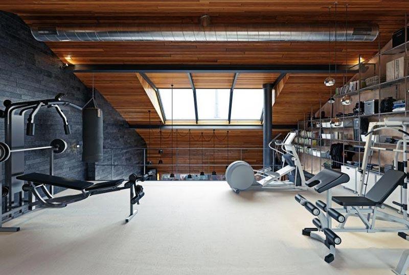 Thiết kế phòng gym trên tầng gác mái